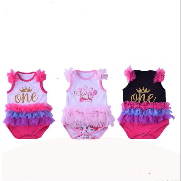 Baby Rompers Vest Kids Designer Clothes Ruffle Jumpsuit Crown First Birthday Onesies Summer Cotton Tutu Diaper Covers Newborn Overalls B5514