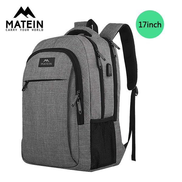 mochila de 17 pulgadas de gran capacidad mochila portátil de Matein los hombres para las mujeres estudiantes cargador USB para bolsas Mochila chica bolsas Hombre