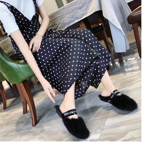 Nouvel automne 2019 baotou lettre plate Web des femmes de célébrités avec des chaussures antidérapantes de la mode de style semi-pantoufles