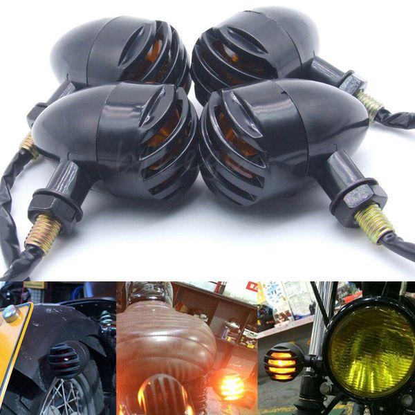 4 pezzi Black Motorcycle Turn Signals Blinker Amber Indicator Mini Bullet Light Lamp