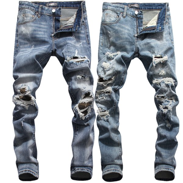28-38 Mens de luxe Designer Crayon Jeans Lettre Imprimé Blanc Denim Pants Fashion Club Vêtements pour Hommes Livraison Gratuite Hip Hop Skinny Jeans