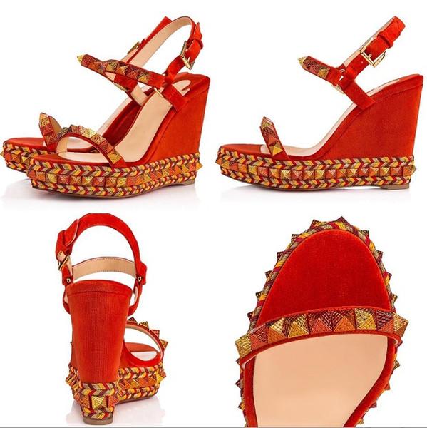 Luxus Name Marke Schuhe Frauen Hochzeitskleid Sandalen Roten Boden Keil Niet High Heels Damen Knöchelriemen Echtes Leder Gladiator Sandalen