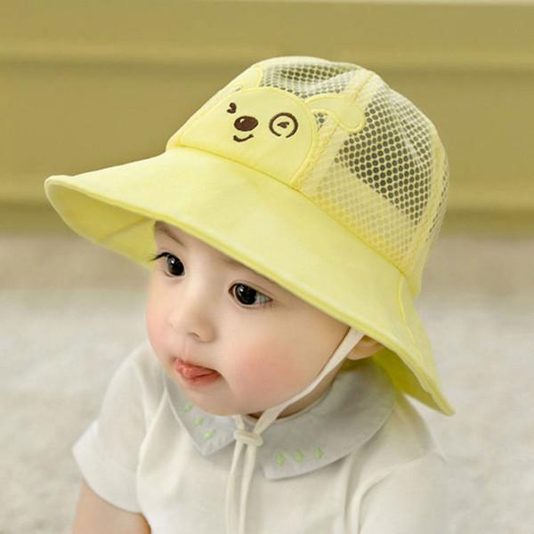 a9b88712 Summer Baby Bucket Hat Mesh Patchwork Boy Girl Fisherman Cap Kids Outdoor Beach  Hat Cute Cartoon