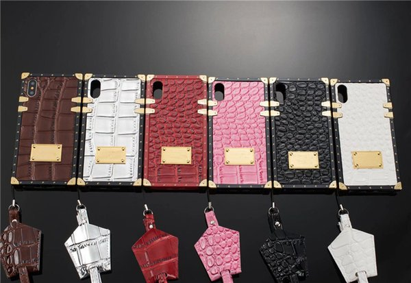 Luxury M&K Mobile Phone Landyard Case Brand Phone Cover iphone 6 7 8 plus x xr xs max Samsung s8p s9p s10 s10E s9 Protection Shells M62005