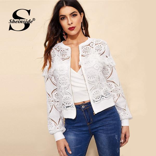 Sheinside Blanc Élégant Creux Veste En Dentelle Femmes 2019 Retour Franglé Bord Détail Vestes Dames Fringe Zip-up Dentelle Outwear
