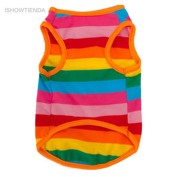 Newly Design New Rainbow Stripe Pet Shirt Vest Dog Clothes Puppy Cat Apparel Costume Clothing For Teddy Summer New
