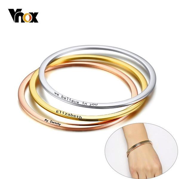 Vnox stilvolle personalisieren armreif für frauen dünne edelstahl manschette armbänder name mode dame streetwear schmuck