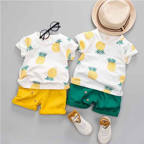 2019 Bebê Meninos Meninas Roupas de Verão Moda Cotton Set Impresso Fruto Esportes Terno Para Um Menino T-Shirt + Shorts Roupas infantis C12