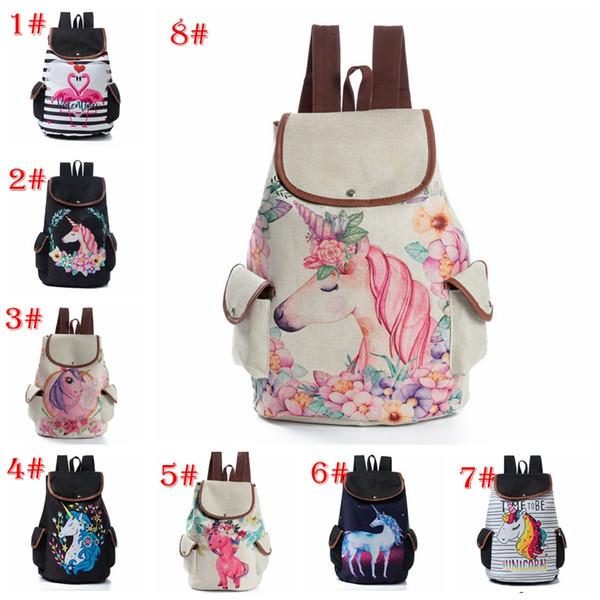11 styles Design Cartoon Printed Unicorn Lanyard Backpack School Bag For Women Men Travel Backpack Lady Canvas Bags
