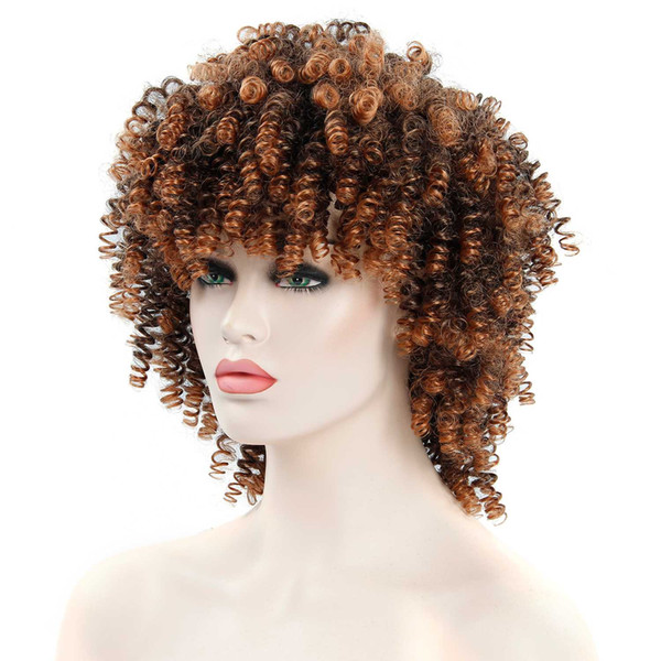 afro wig hair kinky curly synthetic bangs wig for black women man brown mixed blonde