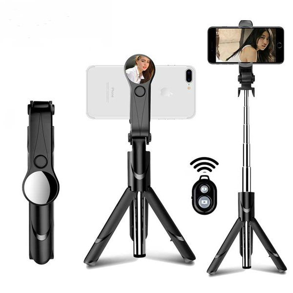Bluetooth Selfie Stick Mini Treppiede Monopiede estensibile con specchio per iPhone per Android Per Samsung