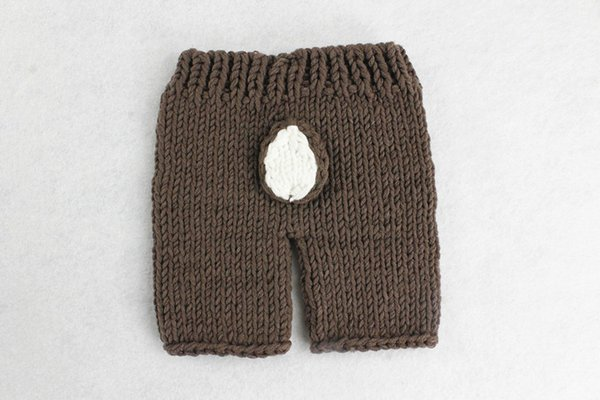 Handmade Crochet Knitted Baby Hat Pants Set Newborn Baby Photography Props for 0-6 Months Christmas Deer Design Costume