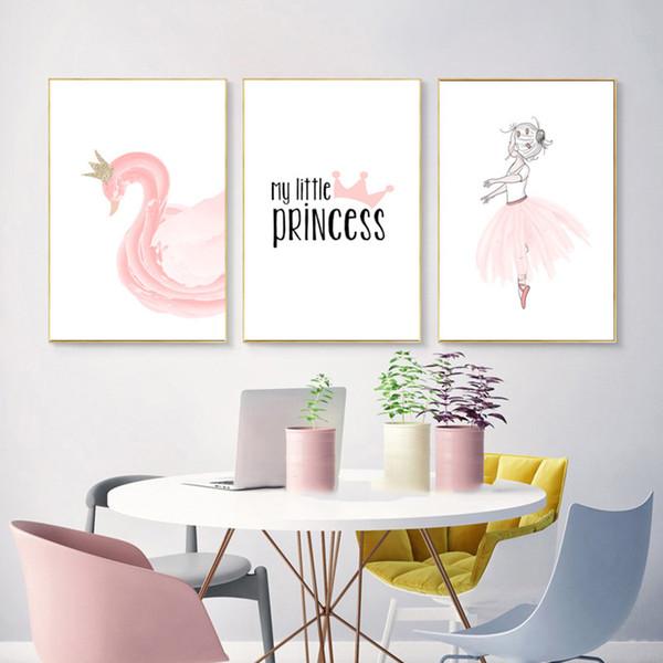 Poster Nodic Pink Swan Kids Poster Mädchen Baby Girl Room Decor Poster Und Drucke Skandinavisches Poster Wandkunst Leinwand Malerei