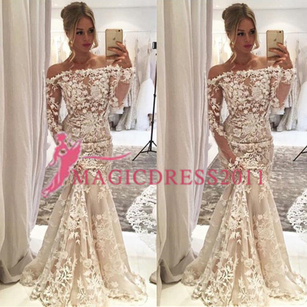 Luxury Boat Neck Wedding Dress Collection 2018 Nigerian Lace Styles Lace Adoration Long Sleeves Mermaid Bridal Gowns