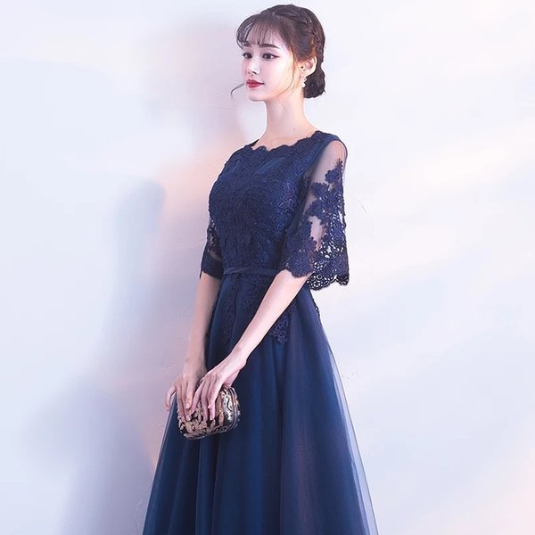 free ship A Line Chiffon V-Neck Lace Pink wine red dark blue Evening Dresses mid party prom dress girl wholesale fashion women clothing