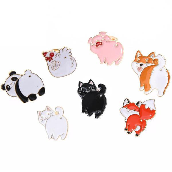 New Fashion Cute Cartoon Panda Dog Cat Chicken Pig Fox Ass Enamel Pin Brooch Children Backpack Hat Decoration Lapel Metal Badges Jewelry Bro