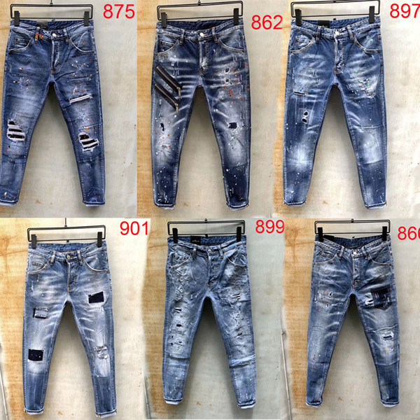 2019 Newest Fashion designer luxury Mens jeans pants Hip Hop Ripped Motorcycle Slim Denim trousers true rock wings jean size 28-38