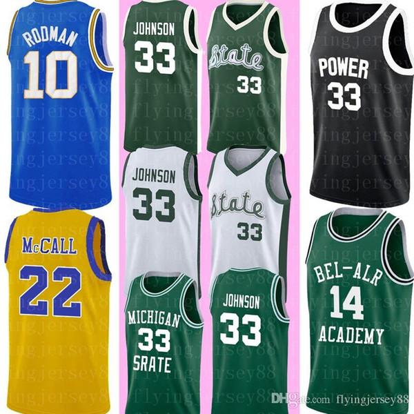 Maglia Michigan State 33 Earvin Johnson a buon mercato Magic Johnson verde bianco maglia college basket loghi cuciti S-XXL