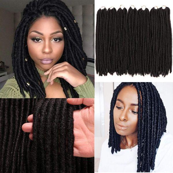 3 Paquetes Goddess Dreadlocs Faux Locs Extensiones de cabello Rectas Goddess Locs 18 pulgadas Pelo de ganchillo sintético Trenzas de ganchillo suave para mujeres