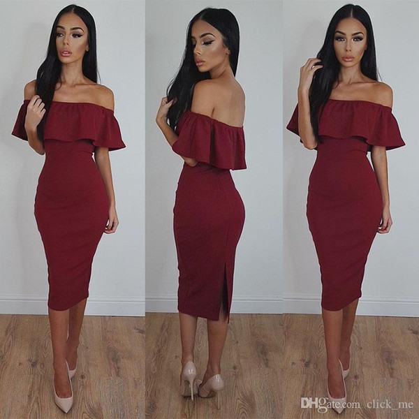 Dark Red Off The Shoulder Party Dresses Cheap Knee Length Back Split Sexy Prom Dress Short Sleeves Yong Girls Mermaid Evening Gowns