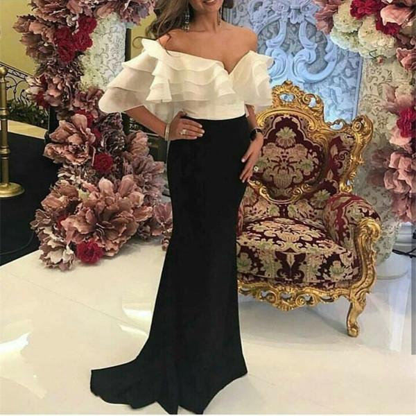 Off-Shoulder Black And White Evening Dresses Top Organza Tiered Ruffles Formal Prom Gowns Floor Length Long Uk Special Occasion Dresses 2018