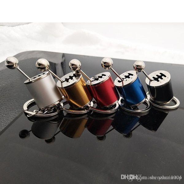 Llavero de coche Tipo de perilla de cambio de marcha Llavero modificado para coche Llavero de metal automático Llavero Estilo de coche Rojo Amarillo Plata Azul Negro