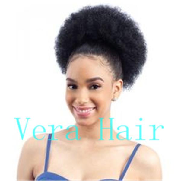 Cheveux humains Ponytail Afro-Américain Court Afro Kinky Curly Wrap Extensions de cordon