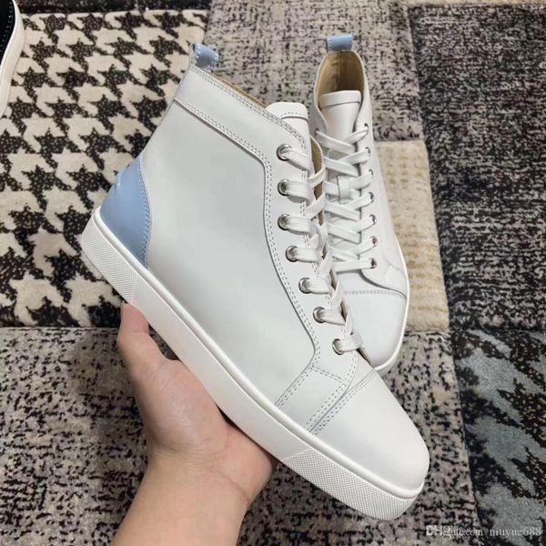 2019 NEU Brand Designer Freizeitschuhe High-Top weiß Echtleder flach für Herren und Damen Designer Sneakers Schuhe