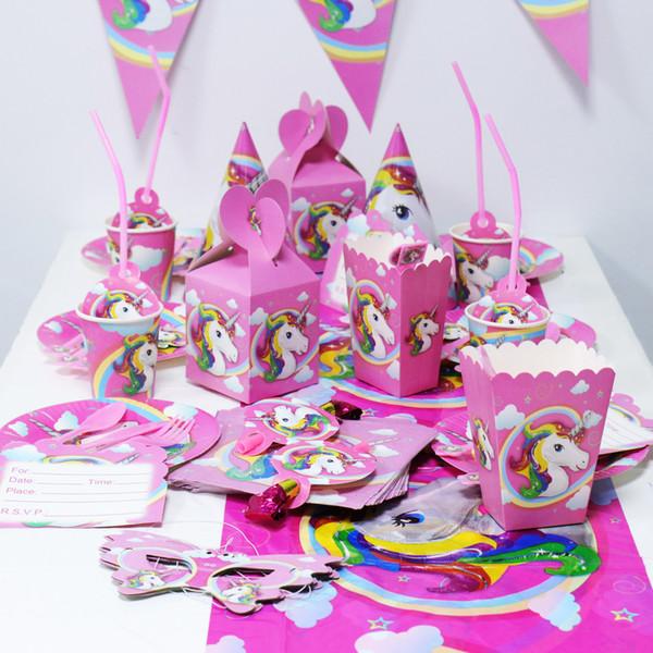 Compre Artículos Para Fiestas Infantiles Unicorn Series Velas Unicornio Tarjetas De Invitación Banderas De Papel Banderas Fiesta De Cumpleaños Para