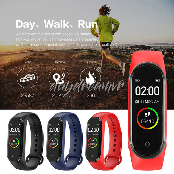 M4 Smart Wristband band Heart rate monitor Bands Blood Pressure Sport Pedometer Bracelet Fitness tracker Smart bluetooth watch for cellphone
