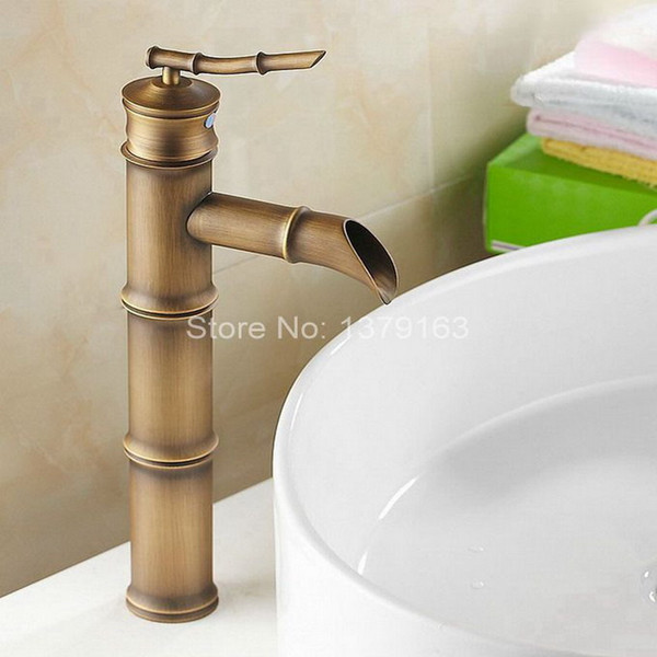 Antique Brass Bamboo Style Single Lever Handle Bathroom Vessel Sink Basin Faucet Mixer Taps anf107