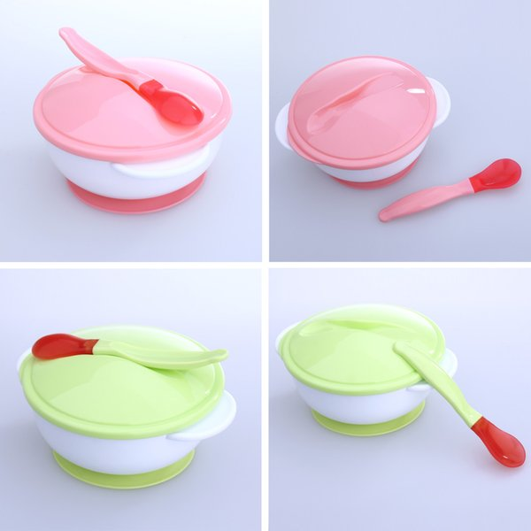 infant feeding Feeding Bowl with Sucker and Temperature Sensing Spoon Suction Cup Baby Bowl Baby Dishes Tableware Set for Children Kids