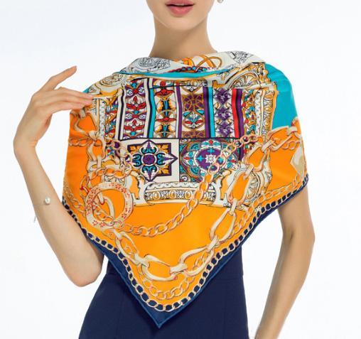 130*130cm Large Scarves Classic Lattice Horse Silk Scarf 2019 Fashion Women Square Scarves Bandanna Headband Neck Tie Band Professional Neck