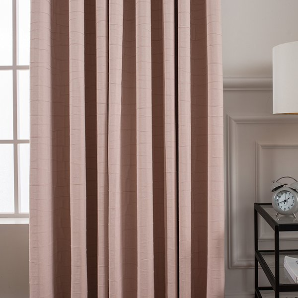 pink nordic modern pleated cotton livingroom bedroom window blackout curtain M647