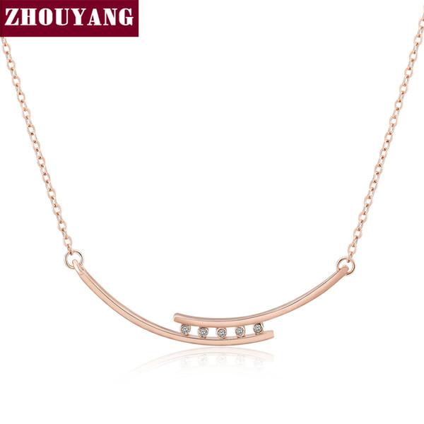 Простые Колье Ожерелья Розовое Золото Цвет Кулон Ювелирные Изделия CZ Кристаллы Для Женщин Свадебный Подарок ZYN039