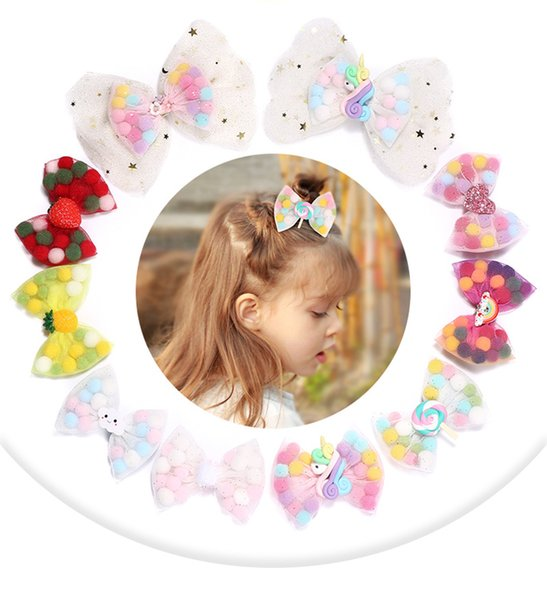 Kids unicorn lace Bows hair clip girls stars sequins lace gauze Bows princess hairpins children colorful pompon bowknot barrettes F9458
