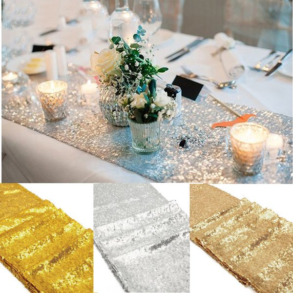 Eco-Friendly Sparkly Bling Silver /Gold /Champagne Sequin Table Runners 180x30cm Wedding Party Bachelorette Party Decor Supplies