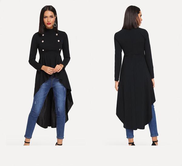 Black Mock Neck Double Breasted Front Dip Hem Top Elegant Ruffle Asymmetrical Longline Blouse Women Autumn Flared Blouses