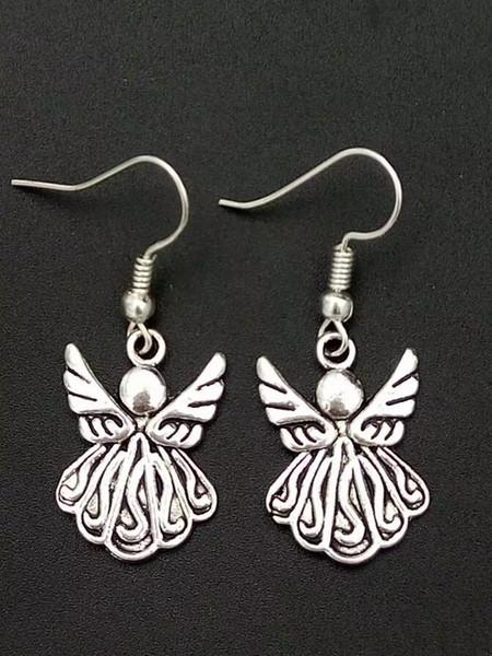 5 Çifti Antik Gümüş Güzel melek Charms Kadınlar Hediye A228 için Hip Hop Bohemian Küpe Mücevherat kolye