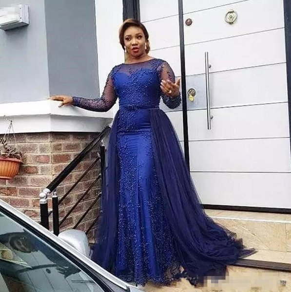 African Plus Size Evening Dresses Bateau Sheer Neck Illusion Long Sleeves Sheath Prom Dress With Overskirts Beads Blue Party Gowns