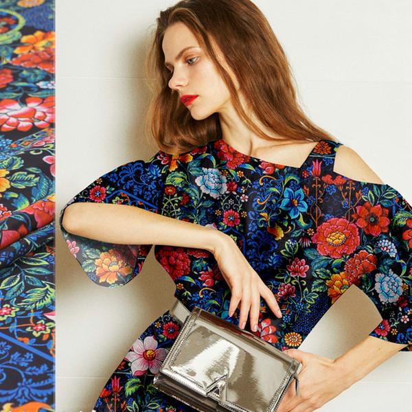 140 cm geniş çiçek baskılı ipek kumaş metre dijital baskı ipek krep de chine kumaş 16mm gömlek elbise kumaş