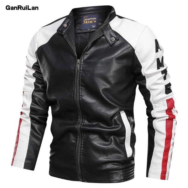 2020 neue Art und Weise Kleidung Lederjacke der Männer beiläufige Patchwork-Lederjacke Stehkragen Zipper Männer JK19136