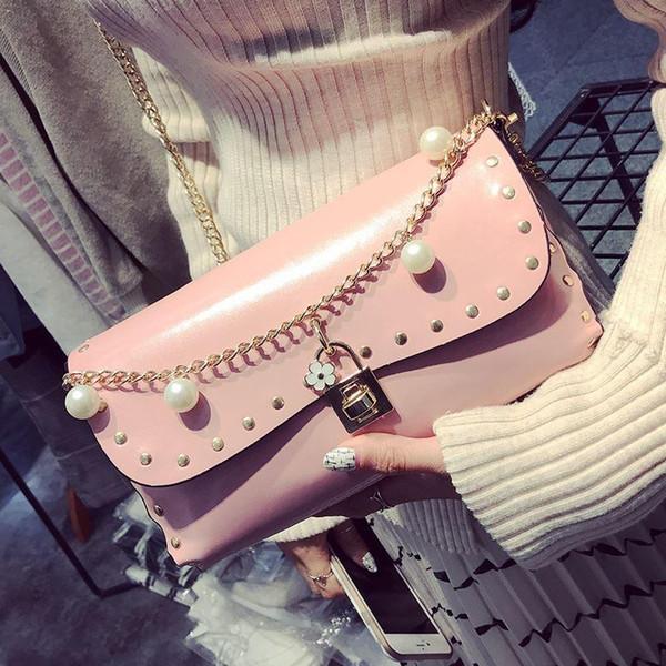 luxury pearl party bags chain rivet shoulder messenger bags women clutch handbags ladies beauty evening bag name brand lock bag