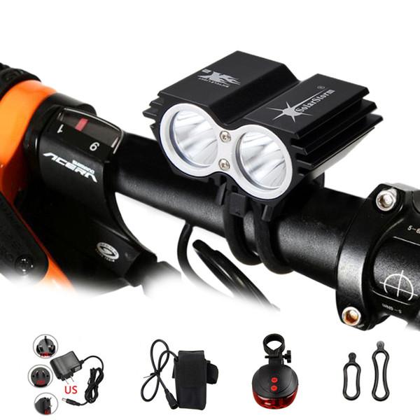5000LM 2xXM-L T6 USB Akkur Scheinwerfer Fahrradlicht Fahrradlampe Auto Ladegerät