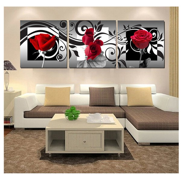 "triptych vertical,Diamond picture Diamond Embroidery""rose/flower""DIY Diamond Painting full square round Crafts mosaic Pattern"