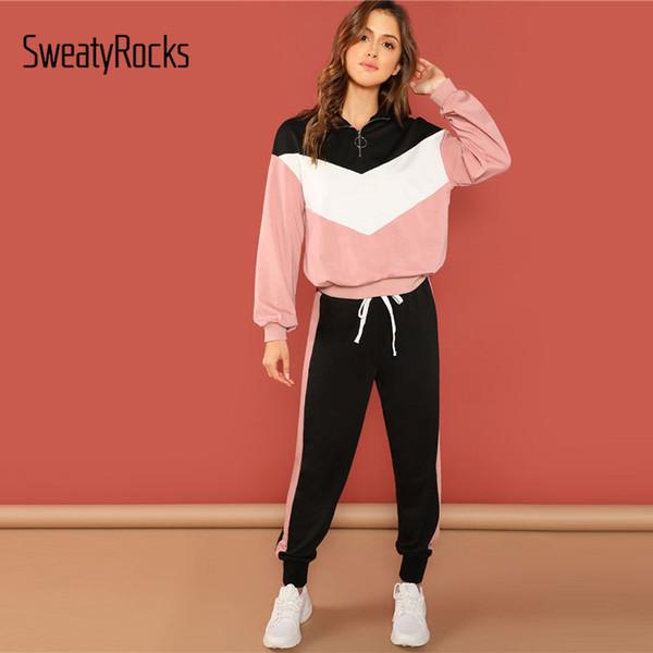 SweatyRocks Casual colorblock Kazak Ve Pantolon Seti Standı Yaka Uzun Kollu Top Konik Pantolon 2018 Sonbahar Kadınlar 2 Adet Set Y200110