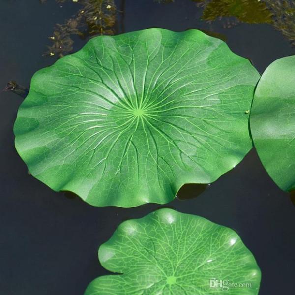 60 cm in diameter Artificial Simulation Green Lotus Leaf Water Decorative Aquarium Pond Scenery Floating Pool Decoration 10pcs