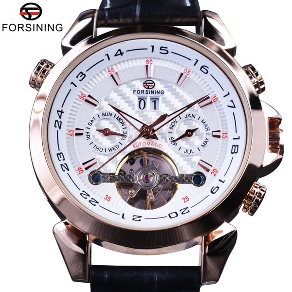 Forsining Swallow Gird Weave Dial Mechanical Wristwatches Genuine Leather Clock Mens Watches Brand Luxury Automatic Watches SLZe20