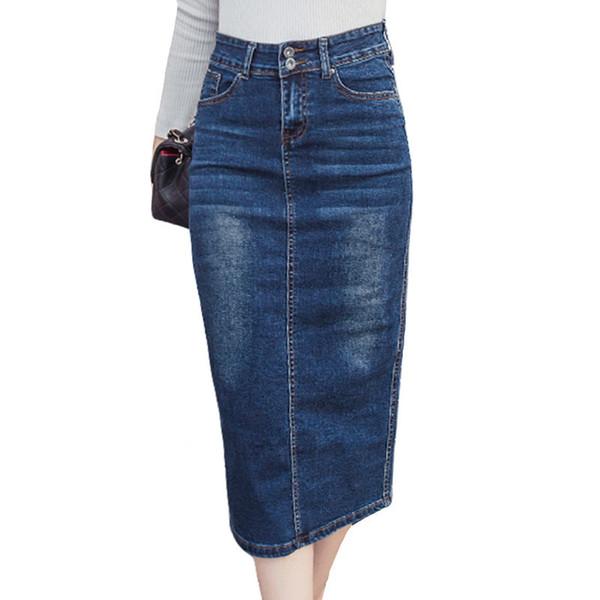 2018 Falda Larga De Mezclilla Botón de La Vendimia Lápiz de Cintura Alta Negro Azul Mujeres Delgadas Faldas Tallas Grandes Señoras Oficina Sexy Jeans Faldas Y19050602