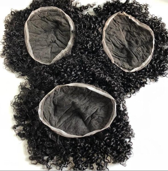 Men Hair System Perücke Men Hairpieces Body Curl Volle Spitze Toupee Jet Black # 1 Europäisches Reines Menschenhaar Ersatz für Schwarze Männer
